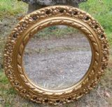 Round Ornate Gilt Framed Hanging Wall Mirror